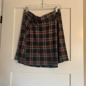 Plaid circle skirt with zipper
